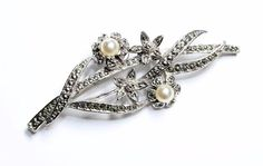 A silver coloured, marcasite and faux pearls flowers brooch, which I think dates from around the 1950s. ~~~~~~~~~~~~~~~~~~~~~~~~~~~~~~~~~~~~~~~~~~~~~~~~~~~~~~~~~~~~~~~~~~~~~~~~~~~~~~~~~~~~~~~~~~~~~~~~~~~. | eBay!