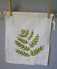 Organic Linen Drawstring Produce Bag Screen Printed by madderroot