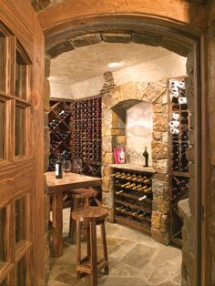 Luxury Residence Design in Victorian Rustic Styles : Rustic Wine Cellar Design Stone Wall Wooden Table Depping Residence Caves, Wine Cellar Basement, Home Wine Cellars, Wine Cellar Design, Wine Tasting Room, Wine Storage, Custom Homes, Cigar Room, Decoration