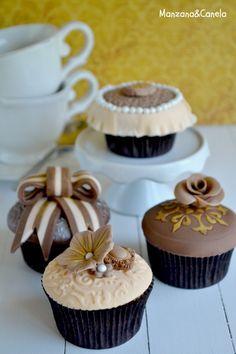 Vintage cupcakes de Manzana & Canela #magdalenas #decoracion #pasteles #cupcake