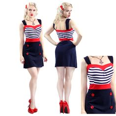 Cute Striped Skipper Pinup Dress Sailor Rockabilly Nautical Wiggle Navy Red