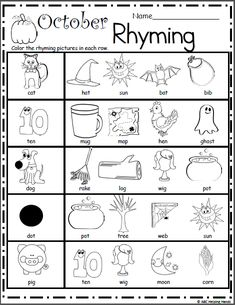 Halloween Rhyming Worksheet – Free literacy building page for Kindergarten and Preschool Use this worksheet as a rhyming assessment page or practice worksheet. Students will color the rhymin…