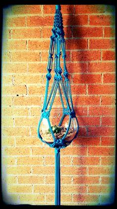 Modern Blue Macramé Decorative Hanger by Mimakrame on Etsy
