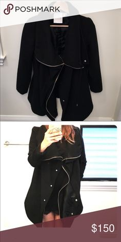 OAK NY Wool drape coat 100% wool coat, has two zip layers size xs.  I brought this from another Posher, and I love it but the arms are too short for me. Does have slight wear (piling) but very minimal and in great condition. OAK NY Jackets & Coats