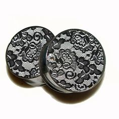Black Lace Plugs 1 Pair 2 plugs Sizes 8g to 2 by GrudgePlugs, $19.95