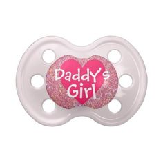 """""""Daddy's Girl"""" Pink Sparkle Baby Pacifier ($9) ❤ liked on Polyvore featuring baby, baby stuff, baby girl, pacifiers and 56. pacifiers & teethers."""