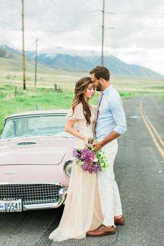 wedding ideas - photo by Anastasia Strate Photography http://ruffledblog.com/elopement-inspiration-with-a-vintage-pink-thunderbird