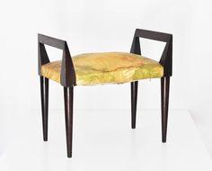 Vintage Stool GIO PONTI Tabouret handles wood walnut fabric 1950s (Ico Parisi Paolo Buffa) armchair di LittleOld su Etsy