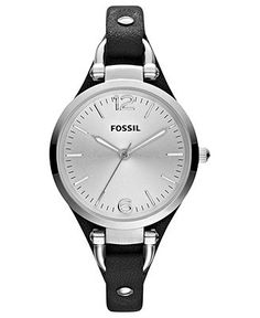 Fossil Watch, Women's Georgia Black Leather Strap