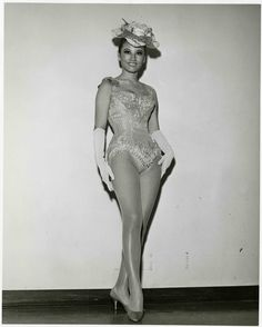 """Grace Lee, a Copa Girl, at the Sands Hotel and Casino in Las Vegas, July 1966.  Image is part of UNLV Libraries """"Photo"""" digital collection."""