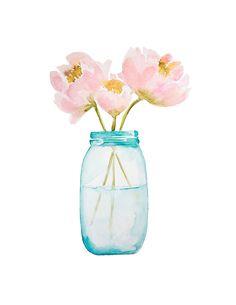 Watercolor Flowers in a Jar