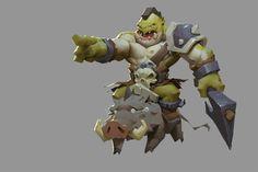 ArtStation - A stupid warrior, Enforcer 12 Game Character Design, Character Design References, 3d Character, Character Modeling, Character Concept, Concept Art, Game Concept, Chibi Characters, Fantasy Characters
