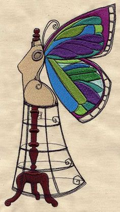 "Embroidery Designs at Urban Threads - Winged Beauty (#UT3603) 4.91""w x 9.39""h 04 October 2011"
