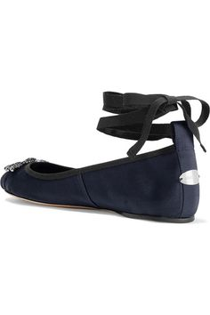 Jimmy Choo - Grace Crystal-embellished Satin Ballet Flats - Navy - IT35