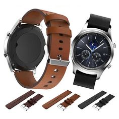 d2a087462221 PU Leather Stainless Steel Strap Wrist Band Watch Band for Samsung Gear S3  Classic   Frontier