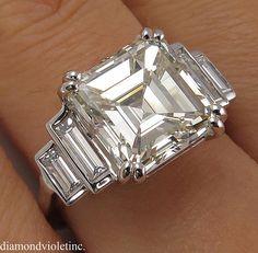 GIA 5.81ct Antique Vintage Art Deco Asscher Diamond Engagement