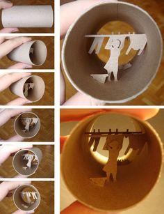 Binocoli delle meraviglie. Caleidoscopici rotoli di carta igienica. Opere realizzate da Anastassia Elias (in rotoli di carta igienica)