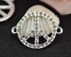 10pcs 22mm Silver Plated Rhinestone Peace Charms Connectors - Peace Charms Pendant