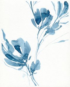 ORIGINAL watercolor art blue watercolor painting original