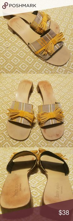 Kate Spade Striped Mule Slide Sandals w/ Bow Super cute striped slides with ochre bow. In good used condition. Leather sole shows minimal wear to footbed. Supeficial wear to bottoms of sole and heels are in excellent shape! Size 8M. Made in Italy. kate spade Shoes Sandals
