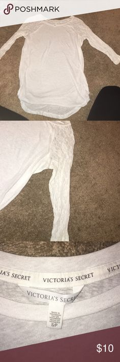 Victoria's Secret top White 3/4 sleeve top. Lace sleeves. Size Small. Thin material PINK Victoria's Secret Tops