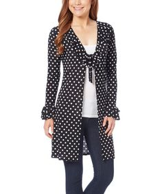 Another great find on #zulily! Black & White Polka Dot Tie-Front Cardigan #zulilyfinds