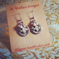 dwallacedesigns antique button, crystal and pearl earrings.