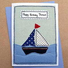 "Personalised Sailing Boat Boys Birthday Card.  Like the saying ""Ahoy There, Birthday Boy!"""