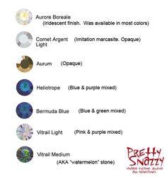 Swarovski Special Effects Stones - Aurora Borealis (AB), Comet, Aurum, Heliotrope, Bermuda blue, Vitrail Light and Vitrail Medium (AKA watermelon stones).
