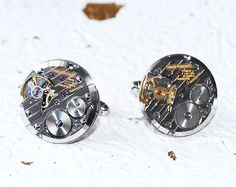 GIRARD PERREGAUX Steampunk Cufflinks - Made with Genuine Girard Perregaux watch movement. Available at TimeInFantasy. $175