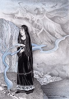 A Vǫlva or Vǫlva sometimes anglicized Vala; also Spákona or spækona) is a Female Shaman and Seer in Norse religion and a recurring motif in Norse mythology. Legends And Myths, Asatru, Viking Age, Norse Mythology, Gods And Goddesses, Fantasy, Archaeology, Witchcraft, Celtic