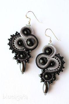 blueagata: Black&grey soutache earrings with hematite, http://blueagata25.blogspot.com/2017/05/czarno-szare-kolczyki-czyli-klasyka-i.html