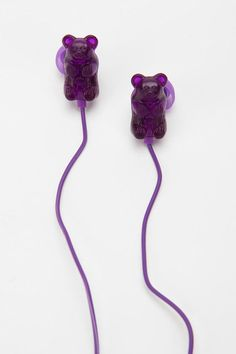 Someone needs to get these for xmas for me! Gummy Bears Earbud Headphones - Purple   #UrbanOutfitters