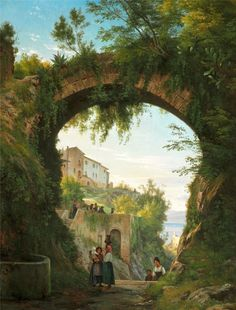 CARL FREDERIK AAGAARD. Italians under an aqueduct in a high-lying town at a lake, 1878-1879.