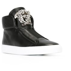 Versace 'Palazzo Medusa' hi-top sneakers (9.917.245 IDR) ❤ liked on Polyvore featuring shoes, sneakers, flat shoes, flat sneakers, leather high top sneakers, leather high tops and black high top shoes