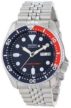 Seiko men watches: Seiko Men's SKX175 Automatic Dive Silver-Tone Watch