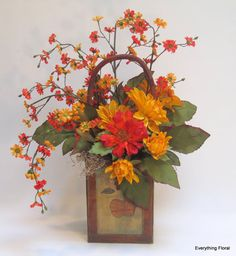 Fall Silk Flower Centerpiece Centerpieces Table Faux Arrangements