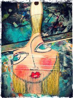 Mixed media canvas, mixed media art, junk art, paint brushes, paint brush a Paint Brush Art, Paint Brushes, Mixed Media Canvas, Mixed Media Art, Eye Candy, Art Antique, Creation Deco, Found Object Art, Junk Art