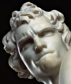 David (detail), 1623-1624, marble statue by Gian Lorenzo Bernini (1598-1680). Height 170 cm - Borghese Gallery in Rome, Italy