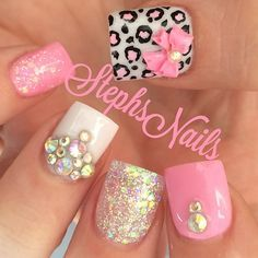 #pink#white#clearsparkle#leopard#pink#bows#cute#nails#love