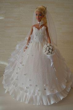 DIY Barbie Chocolate Bouquet dress-11
