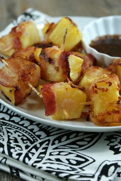 Bacon Wrapped Pineapple Bites with Soy Ginger Dipping Sauce from @Lisa Phillips-Barton Phillips-Barton | Authentic Suburban Gourmet