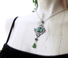 Victorian Style Green Necklace    Available at http://www.aranwensjewelry.com/product/green-gothic-necklace-swarovski-crystal-jewels?tid=1