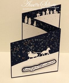 Lavender Thoughts | Annette Sullivan | Stampin' Up! Jingle All the Way Navy Trifold Angle