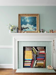 Lesson #3: Disguise dated brick.  Maybe a border and real mantel on fireplace at cottage.