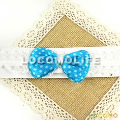 Baby Girl Cute Headband Elastic Lace Dotted Bow Blue