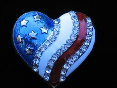 """PATRIOTIC FLAG UNITED STATES USA MEMORIAL INDEPENDENCE DAY HEART PIN BROOCH 1"""" #Unbranded"""