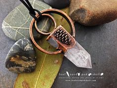 I love these large rose quartz points.  This one features a tiny embedded cone. In store now www.leafseedpodshell.com #leafseedpodshell #leafseedpodshelljewelry #birdhouse #leaves #leaf #acorn #acorns #seeds #pods #shells #copper #electroform #electroforming #electroformed #electroplated #electroplating #crystal #crystals #rustic #plating #jewelry #jewellery #pendant #pendants #handmade #handmadejewelry
