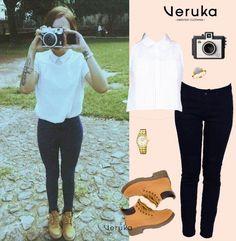 😍😍Le robamos a @yuyacst algunos de sus #outfits para que combines con la ropa que compraste en Veruka 🔅🔅 Y sigue nuestro álbum de #stealstyles en Pinterest 😉 Botas industriales, pantalon negro. blusa elegante, blusa cuello corbata para mujer, camara, reloj, pinta completa yuya, outfit de yuya