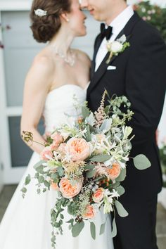 Peach Bouquet with Greenery | photography by http://www.ashley-caroline.com | floral design by http://www.amylynneoriginals.com